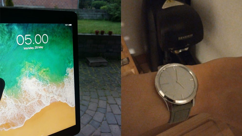 On the left, my iPad. On the right, my friend's watch.