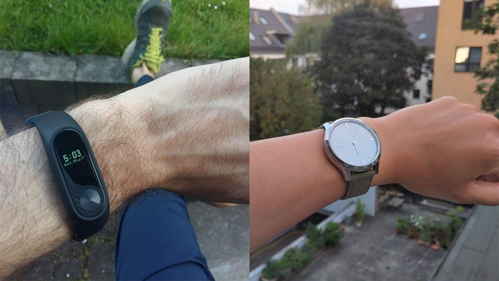 On the left, my watch. On the right, my friend's watch.