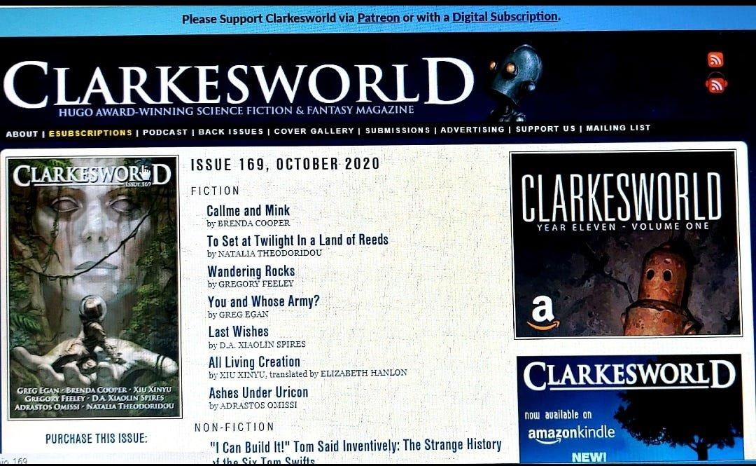 Screenshot by the author via Clarkesworld
