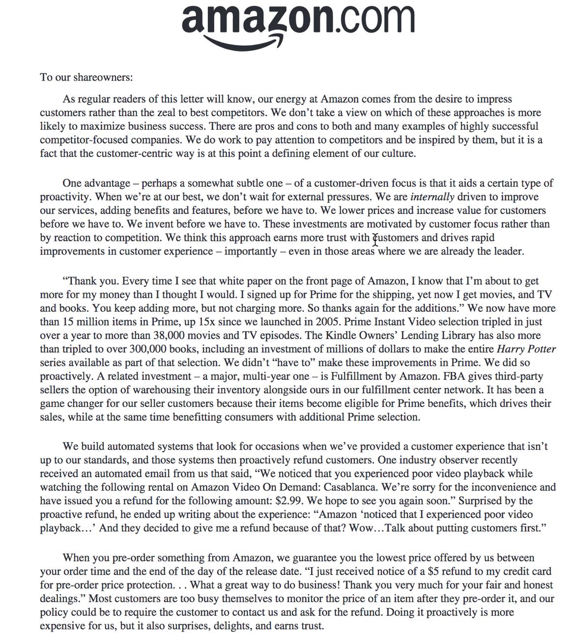 Jeff Bezos 2012 주주 서한