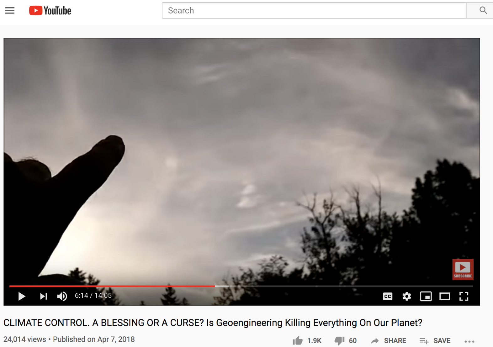 A screenshot of a YouTube video promoting a conspiracy theory about chemtrails. Source: YouTube