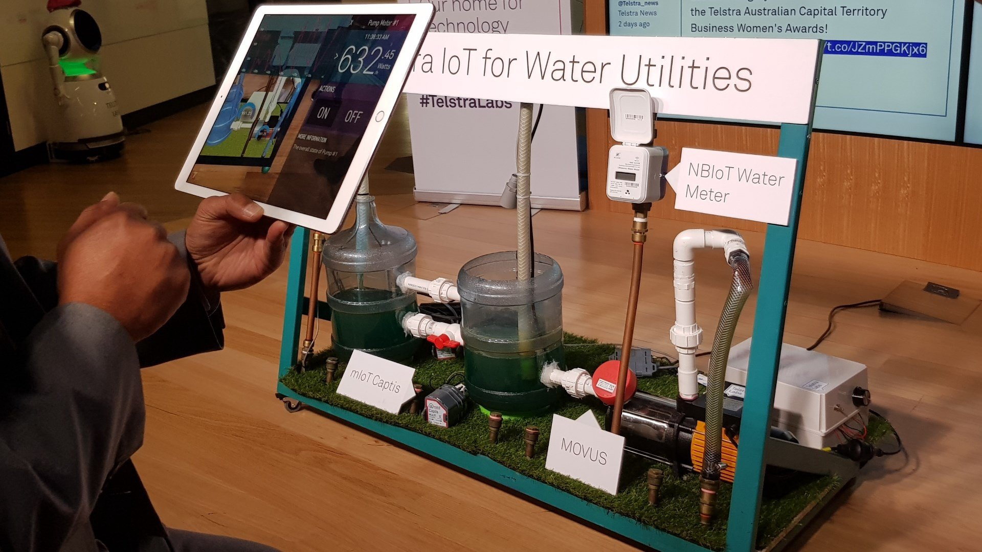 The Telstra IoT water pump prototype with visAR