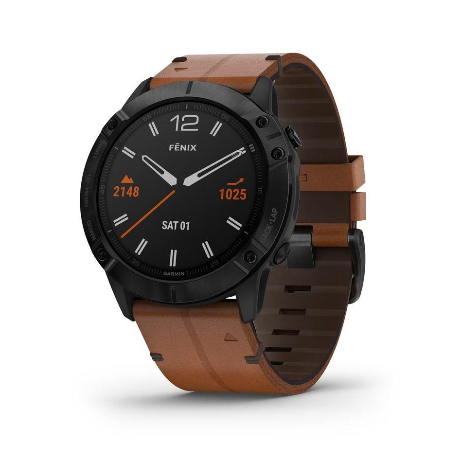 Garmin Fenix 6X with a leather bracelet.