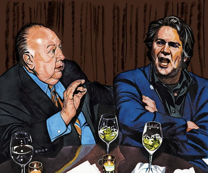 Roger Ailes and Steve Bannon meeting on January 3, 2017.                 Illustration: Jeffrey Smith