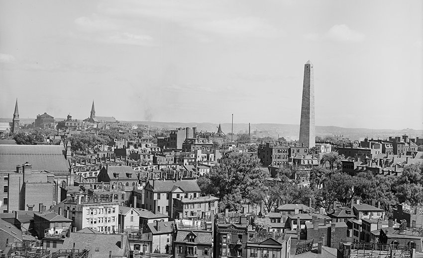 The Bunker Hill Monument, Charlestown, Massachusetts, at the turn of the 20th century. Photo courtesy of the Library of Congress.