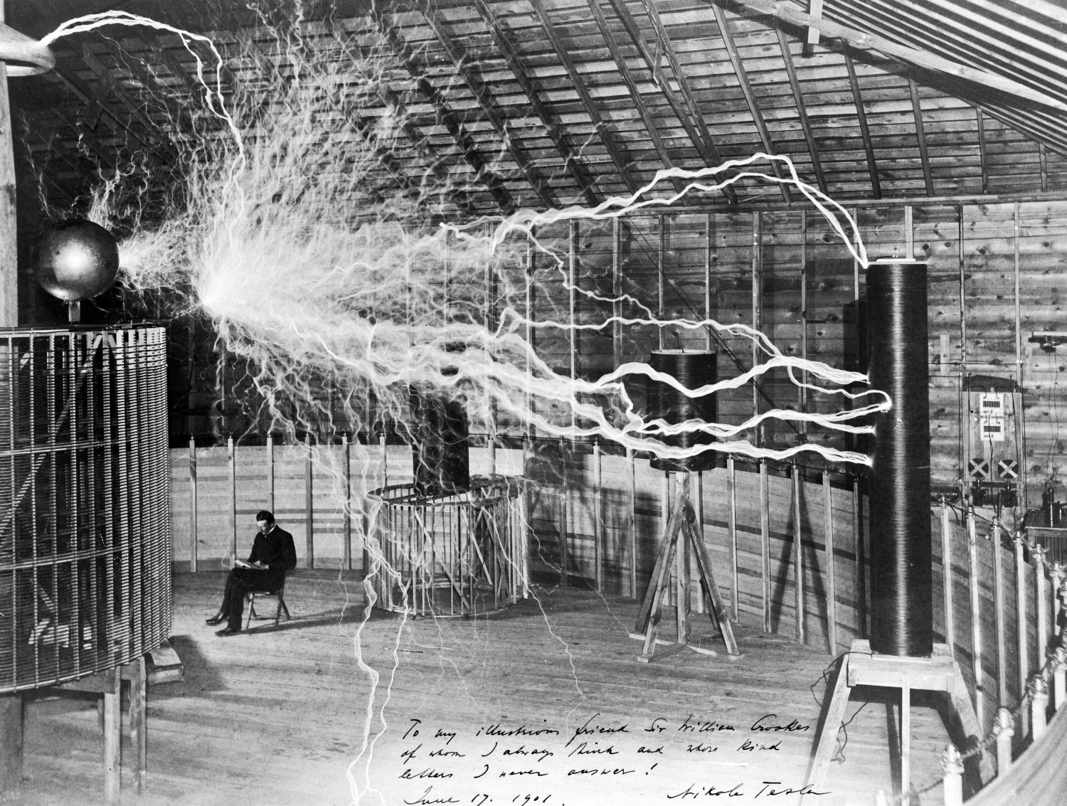 The inventor at rest, with a Tesla coil