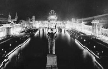 AC electric lights lit up the night at the Chicago World's Fair.