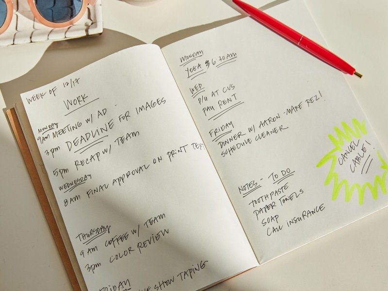 Agenda and pen, Rifle Paper Co. Photo by Aaron Bengochea.