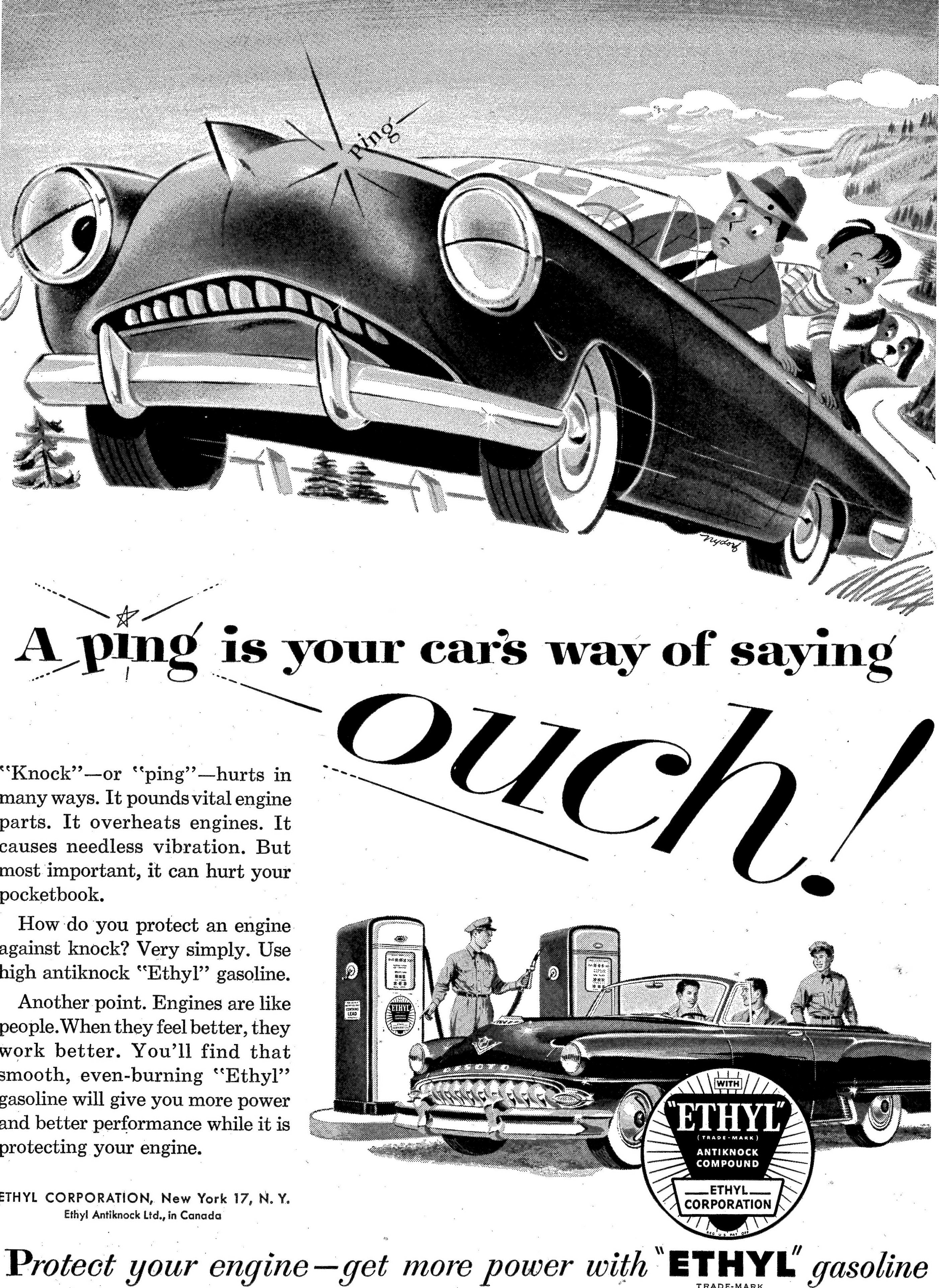 A 1953 advertisement in Life magazine for Ethyl leaded gasoline. Photo courtesy of Don O