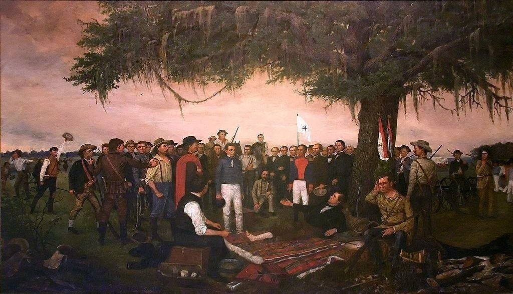 This painting, which depicts Santa Anna's surrender to Sam Houston, now hangs in the Texas State Capitol Building. Credit: William Henry Huddle / Public Domain.