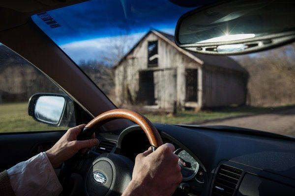 Mr. Hagerman drives from his home into Athens for his morning rituals.
