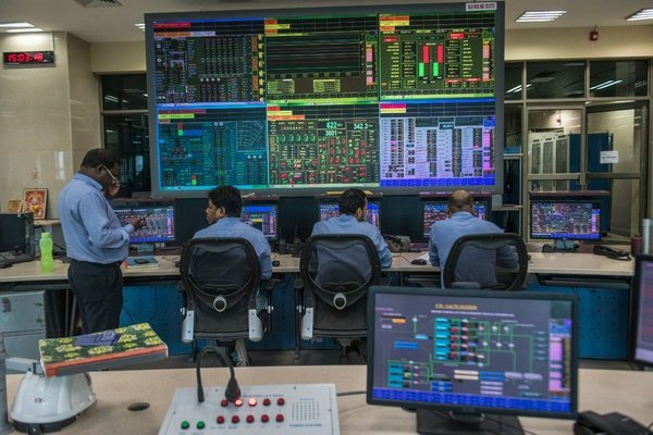 The control room of a power plant in Mancherial, Telangana.