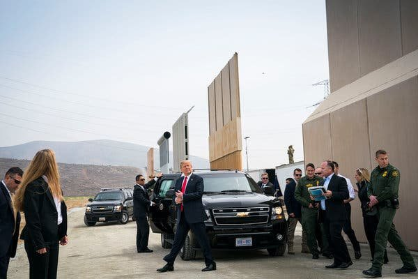 Mr. Trump viewed prototypes of a border wall in San Diego in March.