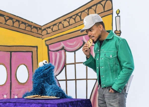 "Chance the Rapper in ""T is for Theater"" with Cookie Monster in 2019."