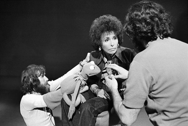 "Jim Henson, left, Kermit the Frog and Lena Horne rehearsing the song ""Bein' Green"" by Raposo in 1973."