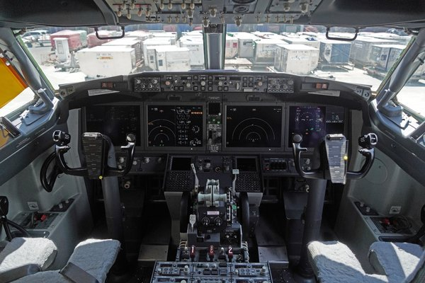 The cockpit of a grounded Lion Air Boeing 737 Max in Indonesia.