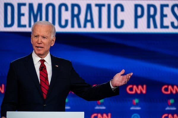 Joe Biden at the Democratic debate in on March 15.