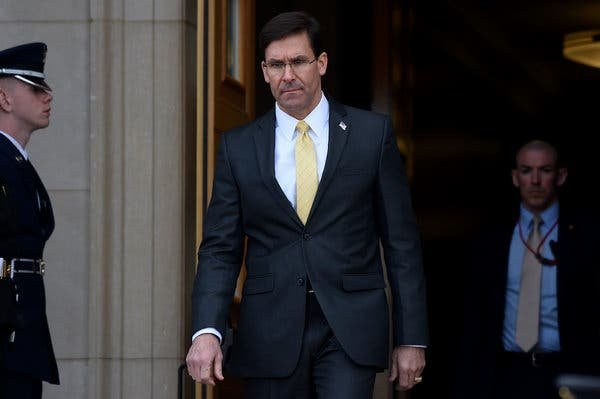 Mark T. Esper was confirmed as the defense secretary last July.