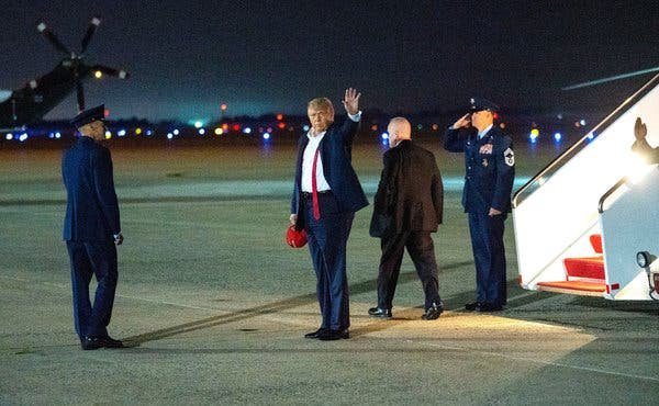 President Trump arriving at Joint Base Andrews after the rally in Tulsa, Okla. on Saturday night.