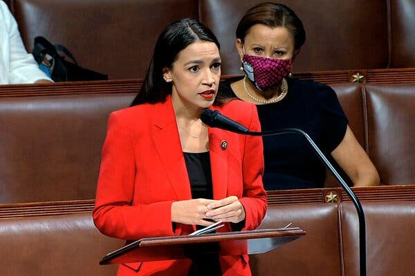 Rep. Alexandria Ocasio-Cortez speaks on the House floor on Thursday.