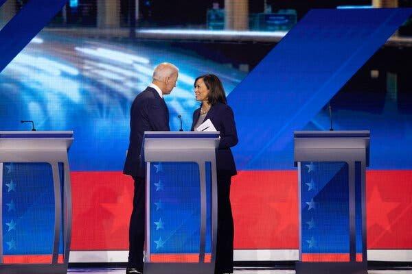 Joseph R. Biden Jr. with Senator Kamala Harris last September after a Democratic presidential primary debate in Houston.