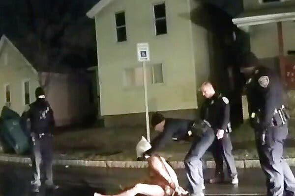 Footage from a police body camera shows a Rochester police officer putting a so-called spit hood over the head of a Black man, Daniel Prude. He died of suffocation, the authorities said.