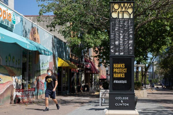 Downtown Iowa City on Thursday. Iowa City is a full-blown pandemic hot spot — one of about 100 college communities around the country where infections have spiked in recent weeks.