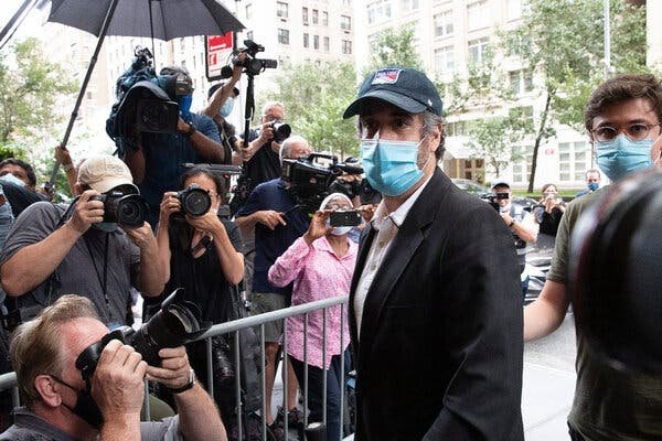 Michael D. Cohen, a former personal lawyer for President Trump, returning to his apartment in New York after being released from prison in July. In his memoir, he is defiant about the actions that sent him to prison.