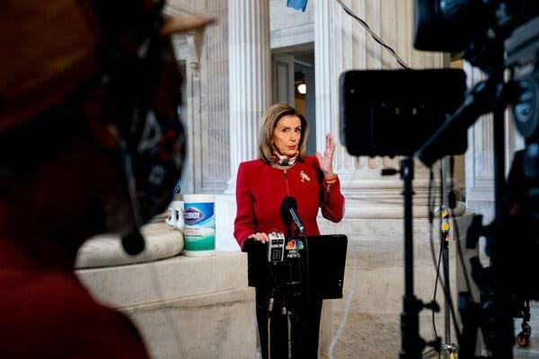Speaker Nancy Pelosi addressed the news media in Washington on Monday.