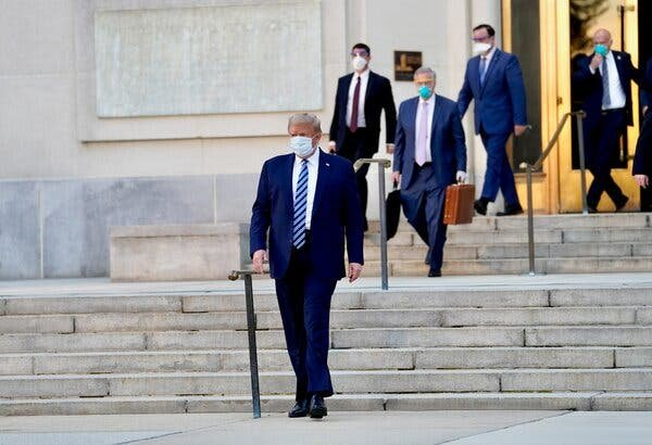 President Trump leaving Walter Reed National Military Medical Center on Monday before returning to the White House.