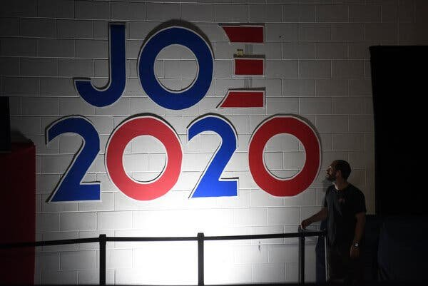 Mr. Biden at times faced doubts about his political acuity and the relevance, in the year 2020, of a set of union-hall-meets-cloakroom political instincts developed mainly in the previous century.Credit...Courtland Wells for The New York Times