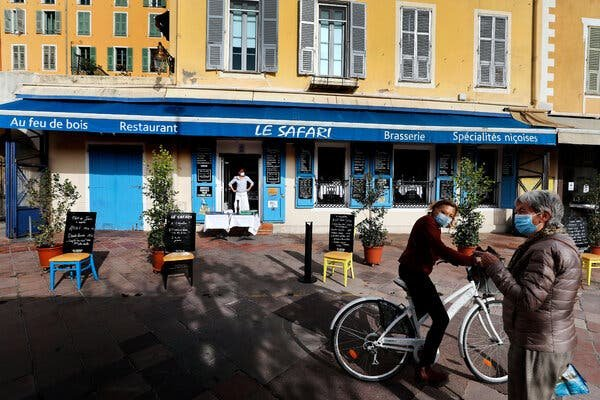 A restaurant open for take out in Nice, France.