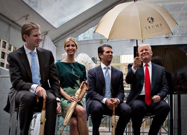 Eric, Ivanka and Donald Trump Jr. with their father at a hotel event in Vancouver, British Columbia. Ms. Trump seems to have been paid as a consultant for the project while also working for the family business.