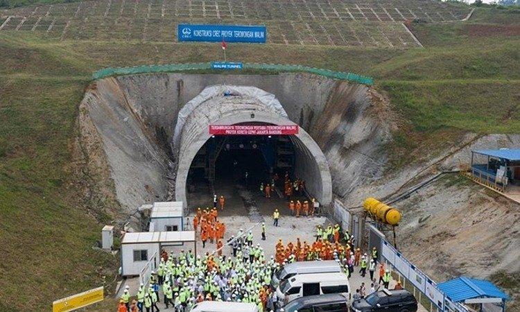 Đường hầm thuộc dự án đường sắt cao tốcJakarta - Bandung ở Indonesia hồi tháng 5/2019. Ảnh:Xinhua