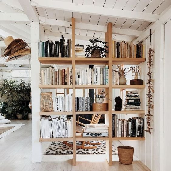 simple open shelving will subtly separate the spaces and provide you with storage