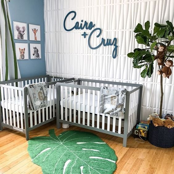 two names put on the wall for a shared nursery is a cute idea showing where who sleeps