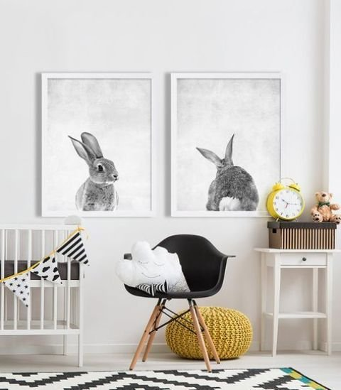 stylish rabbit portraits is a fun idea that will fit any nursery - for a boy or a girl