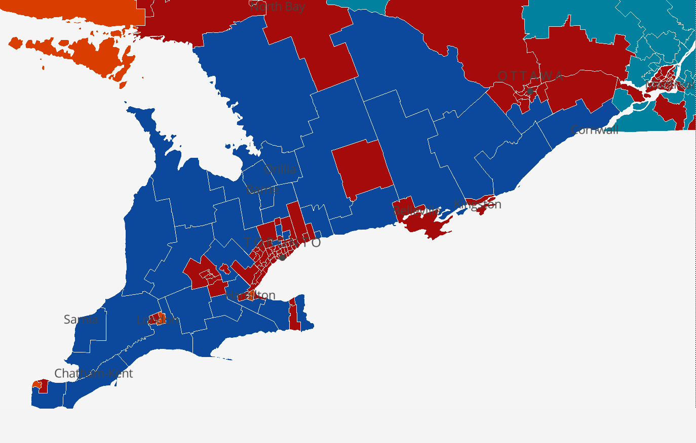 A map of election results in southern Ontario shows Conservatives won seats across rural areas, but lost across Toronto, in Ottawa, London, Kingston and Windsor. Map by CBC News