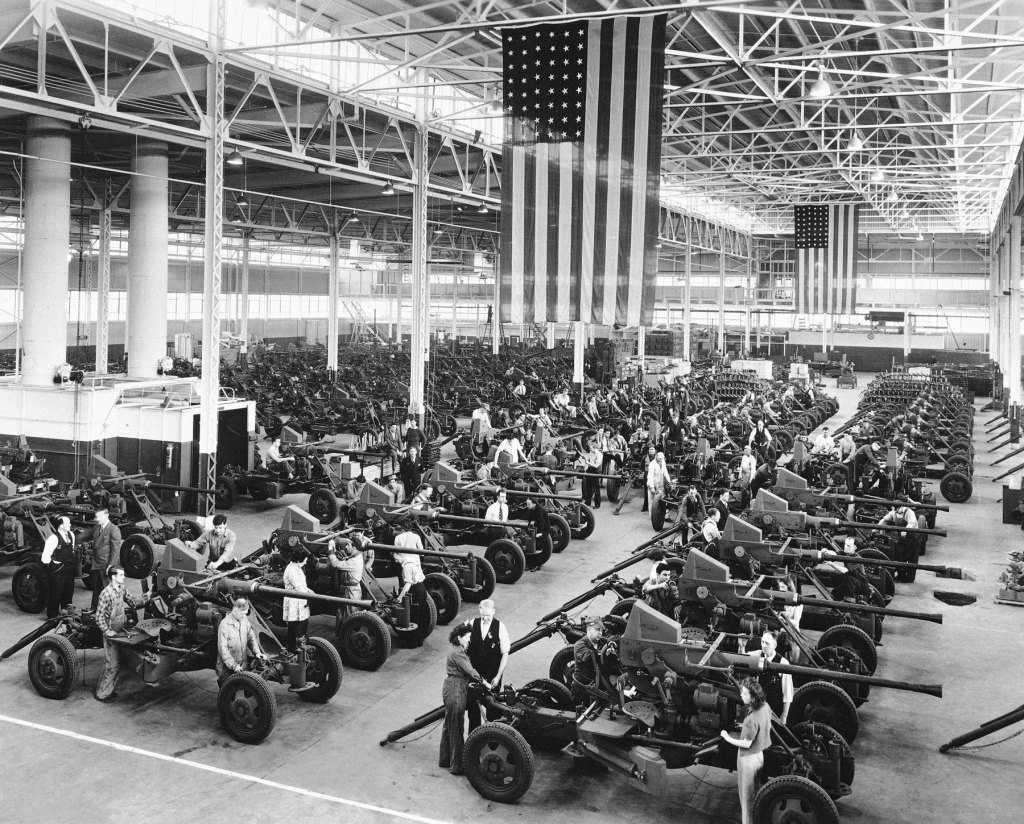Firestone Tire & Rubber Co. in Akron, Ohio on April 3rd, 1944. When the Japanese within six weeks of Pearl Harbor took control of 90 percent of the world's rubber supply, the U.S. dropped the speed limit to 35 mph to protect tires, and then, in three years, invented from scratch a synthetic-rubber industry.