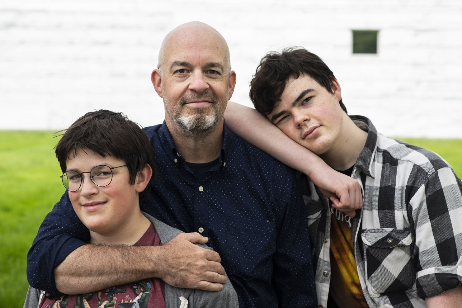 Doug French, with his sons Thomas, 14, left, and Robert, 17, outside the Detroit Institute of Arts.
