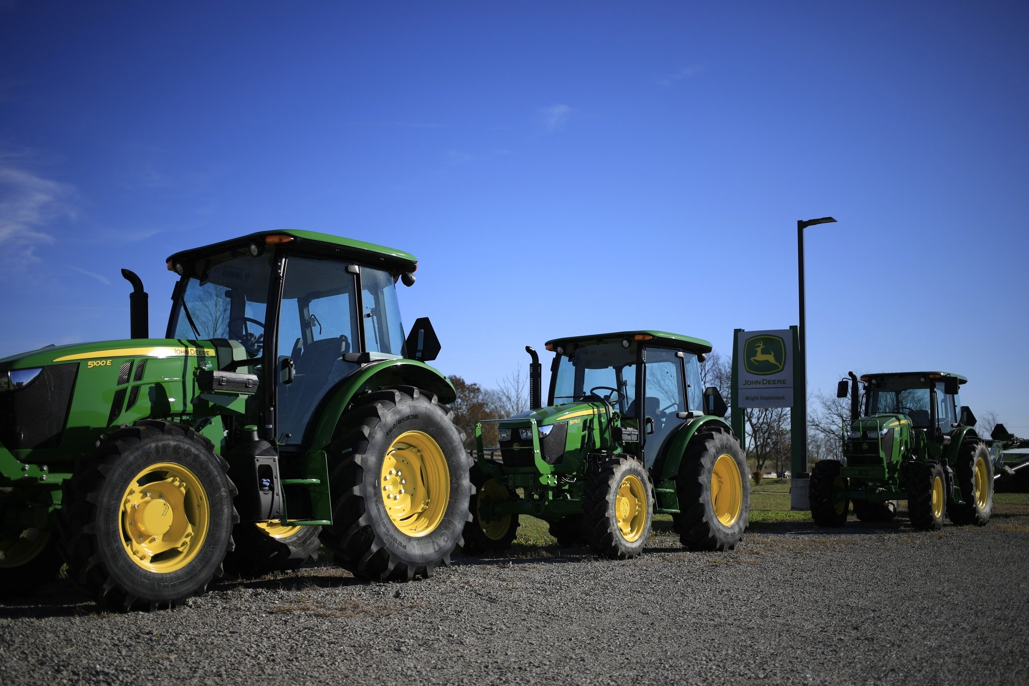Deere & Co. tractors for sale at a dealership in Shelbyville, Kentucky, in November.