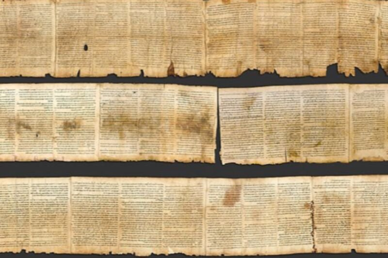 Photographic reproduction of the Great Isaiah Scroll, the best preserved of the biblical scrolls found at Qumran. It contains the entire Book of Isaiah in Hebrew, apart from some small damaged parts.