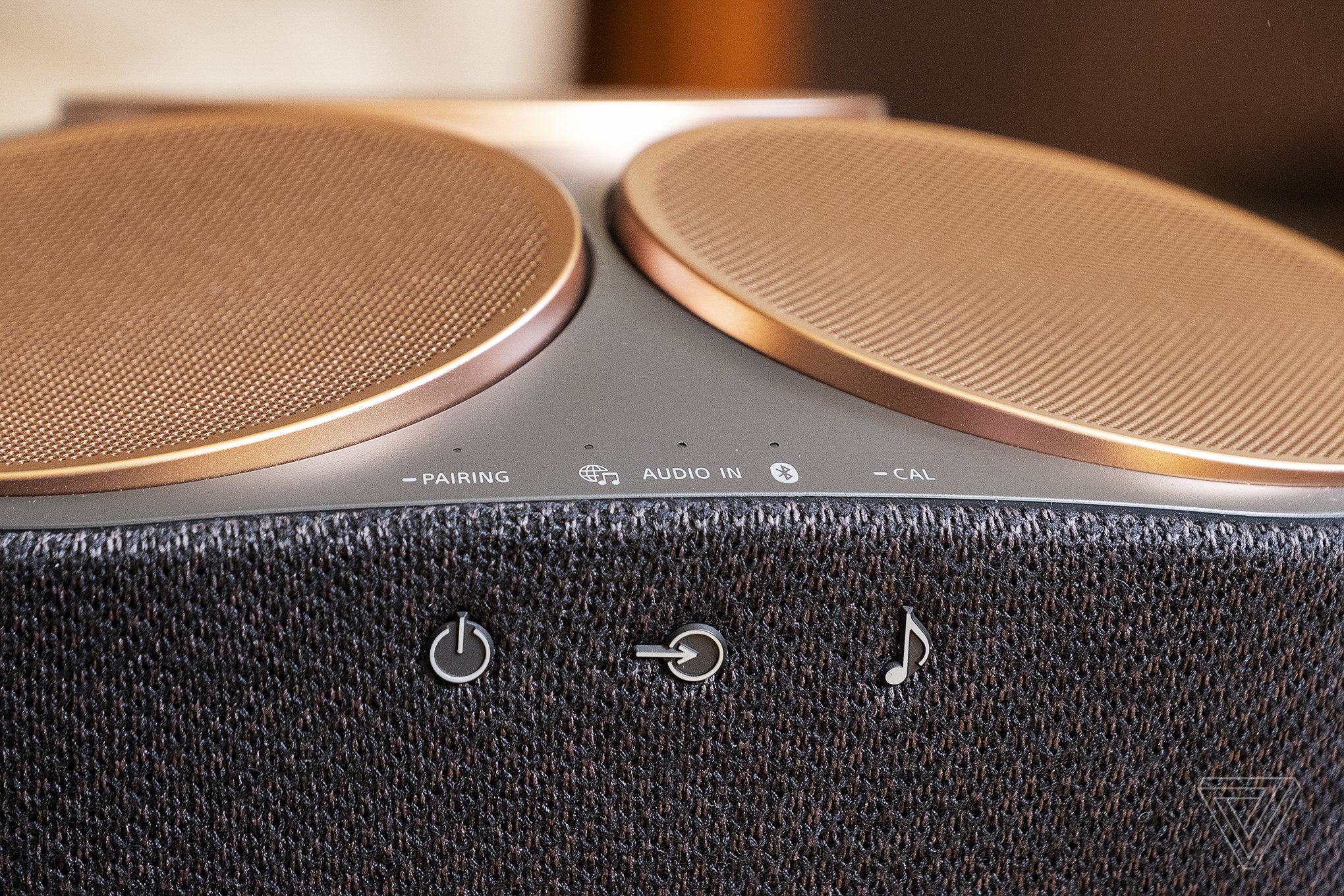 The speaker supports music over Wi-Fi, Bluetooth, or aux input.