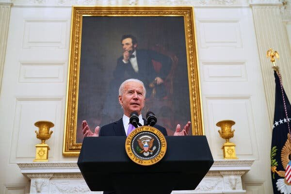 Mr. Biden's plan would allow undocumented immigrants who were in the country before Jan. 1 to apply for temporary legal status after passing background checks and paying taxes.Credit...Doug Mills/The New York Times