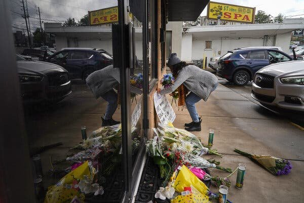The Atlanta police said on Thursday that the man charged with killing eight people, including six women of Asian descent, had been a customer at two spas that were attacked.Credit...Chang W. Lee/The New York Times