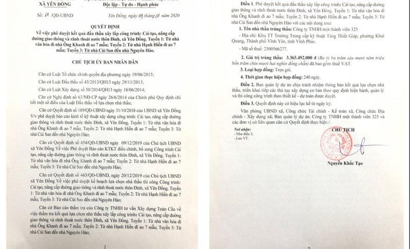 """Yên Đồng, Yên Lạc (Vĩnh Phúc): Nhà thầu """"quen mặt"""" trúng nhiều gói thầu tiết kiệm """"siêu thấp"""""""