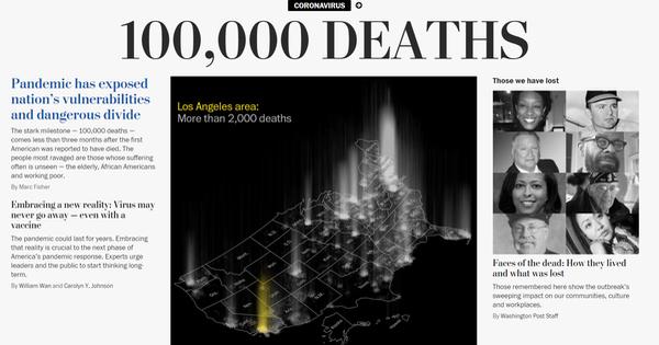 Nhiều báo lớn của Mỹ: Đã vượt mốc 100.000 người chết vì COVID-19