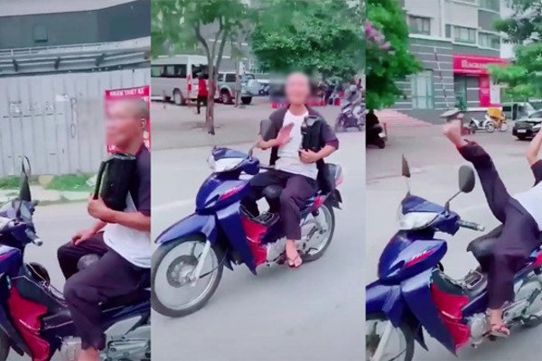 Người đàn ông 62 tuổi buông 2 tay, nằm ngửa đánh võng xe máy ở Hà Nội