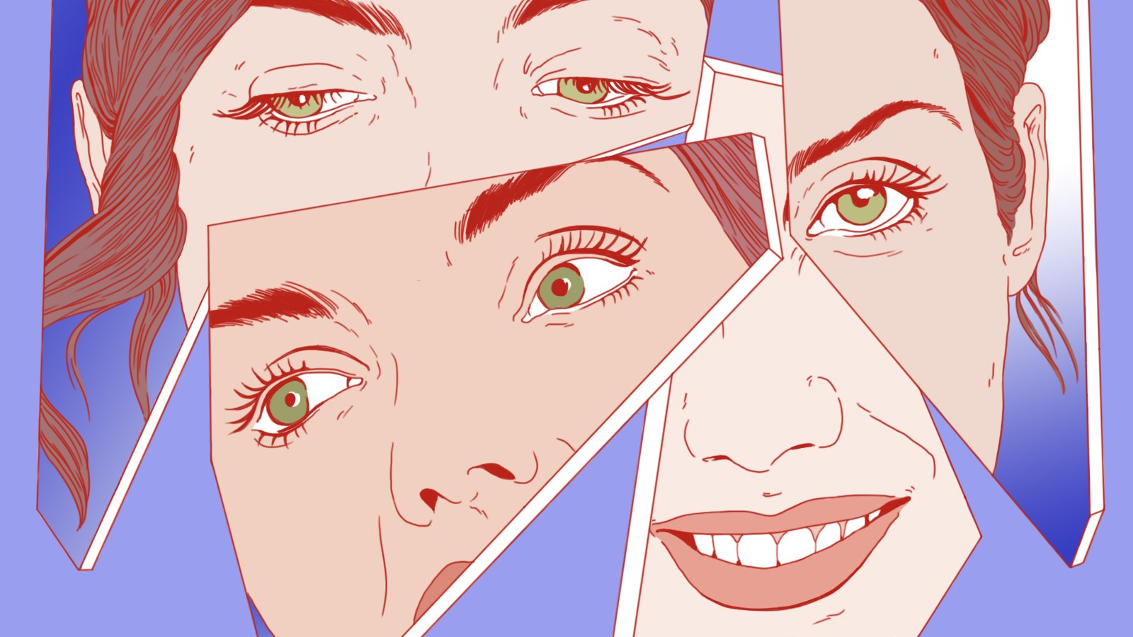 an illustration of the same woman with different expressions reflected in broken mirror shards