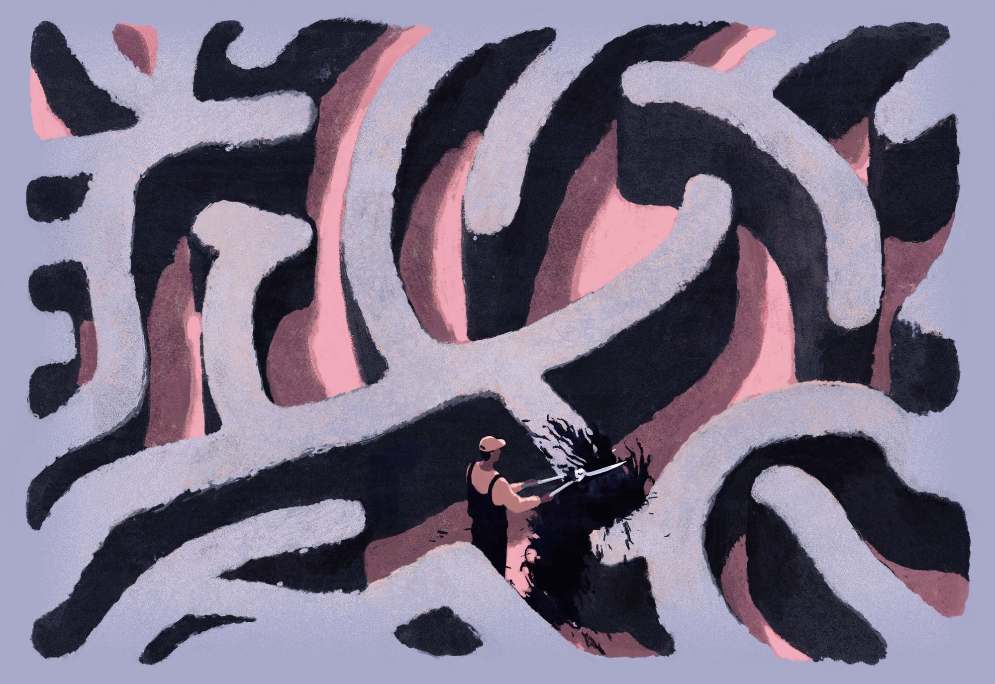 illustration of man trimming what looks like hedges or a brain